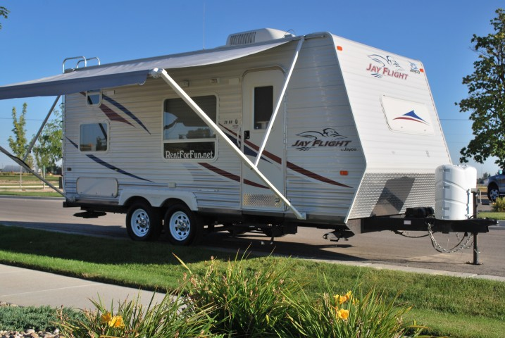 Jayco Jayflight For Rent In Boise Idaho Front 3/4 Drivers Shot