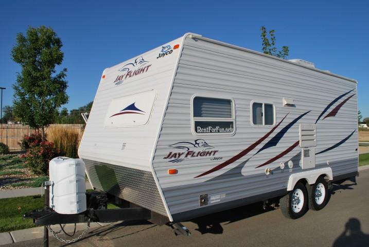 Jayco Jayflight For Rent In Boise Idaho Front 3/4 Passenger Shot